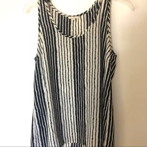 Striped sleeveless high-lo tunic blouse
